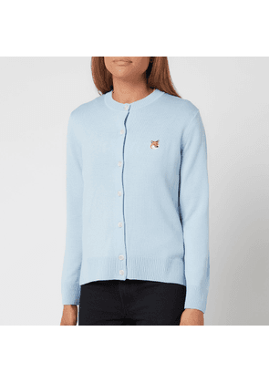 Maison Kitsuné Women's Fox Head Patch Adjusted R-Neck Cardigan - Light Blue - XS