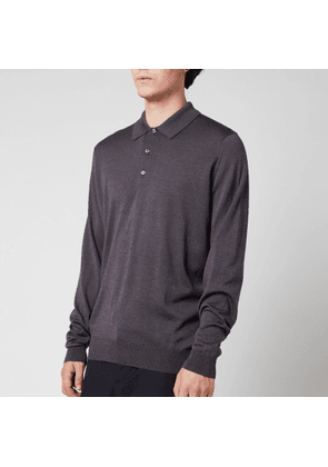 John Smedley Men's Cbelpar Long Sleeve Polo Shirt - Anthracite - S
