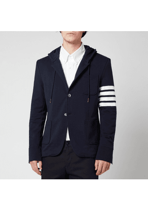 Thom Browne Men's Engineered Four-Bar Stripe Hooded Sport Coat - Navy - 2/M