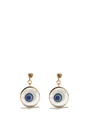 Tohum - Istanbul Murano-glass & 24kt Gold-plated Earrings - Womens - Blue Gold