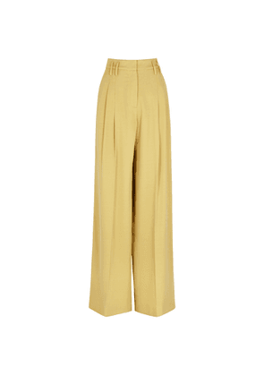 RACIL Maxime Yellow Wide-leg Stretch-wool Trousers