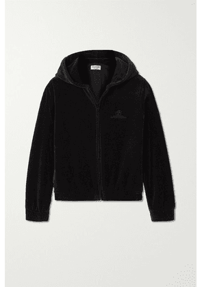 Balenciaga - Cropped Embroidered Cotton-blend Velour Hoodie - Black