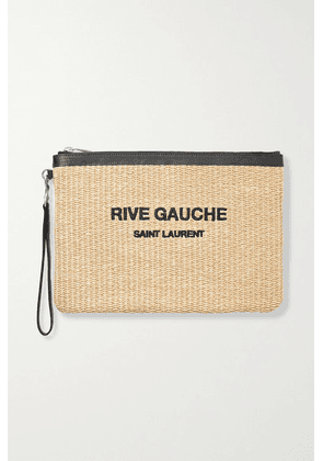 SAINT LAURENT - Noe Leather-trimmed Embroidered Raffia Pouch - Beige