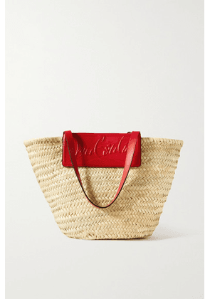 Christian Louboutin - Loubishore Woven Straw And Embossed Leather Tote - Red