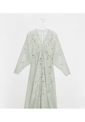 ASOS DESIGN Maternity floral embroidered batwing midi dress in mint-Green