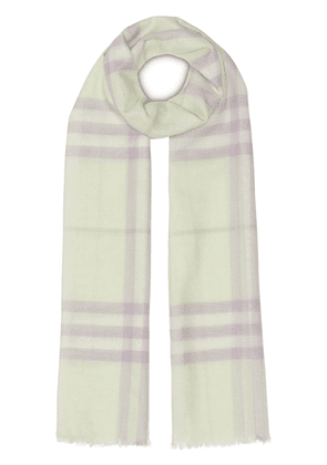Burberry Lightweight Check Wool and Silk Scarf - Yellow
