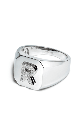 SHAY 18K white gold R-initial ring - Silver