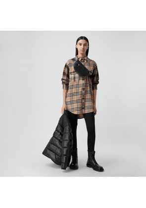 Burberry Contrast Check Cotton Flannel Oversized Shirt, Beige