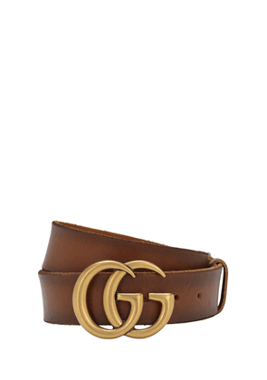 4cm Gg Gold Buckle Leather Belt
