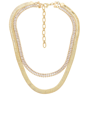 Amber Sceats Layered Necklace in Metallic Gold.