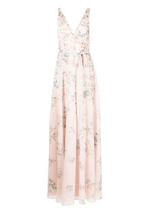 Marchesa Notte Bridesmaids floral-print tulle sleeveless gown - Pink