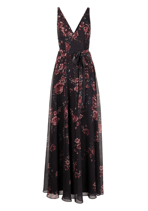 Marchesa Notte Bridesmaids floral-print V-neck sleeveless gown - Red