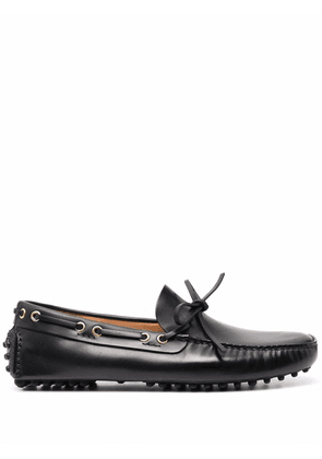 Car Shoe lace-up leather loafers - Black