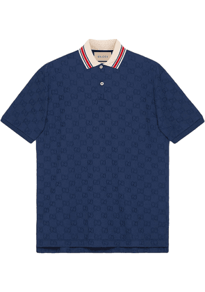 Gucci GG embroidered polo shirt - Blue