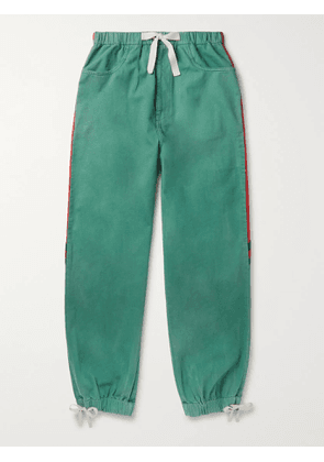Gucci - Webbing-Trimmed Shell and Washed-Cotton Track Pants - Men - Green - IT 48