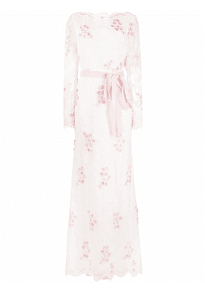 Parlor Jezebel floral bead-embroidered gown - White
