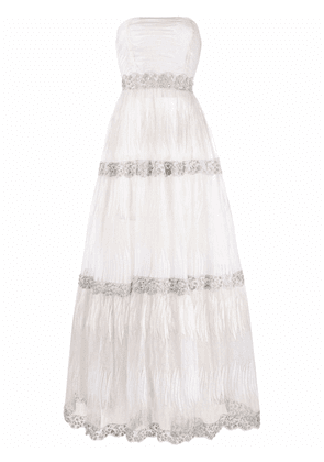 Parlor Sarah lace-layered bridal gown - White