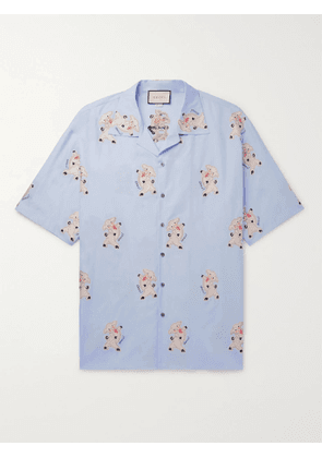 Gucci - Oversized Camp-Collar Embroidered Cotton Shirt - Men - Blue - IT 44