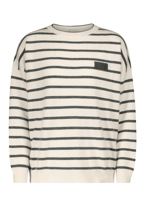 Striped wool, cashmere and silk sweater