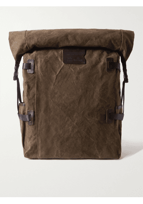 Bleu de Chauffe - Leather and Webbing-Trimmed Cotton-Canvas Backpack - Men - Green