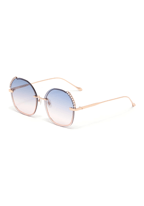 'Dazzle' Stone and Faux Pearl Embellished Round Metal Frame Sunglasses
