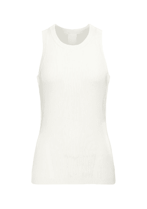 Ribbed-knit cotton, silk and linen-blend tank top