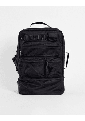 ASOS DESIGN backpack in black nylon with multi pockets and laptop compartment 30 Litres
