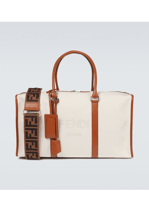 Logo duffel bag with leather trims