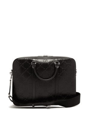 Gucci - GG-embossed Leather Briefcase - Mens - Black