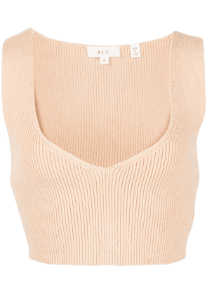 A.L.C. Greyson ribbed cropped top - Neutrals