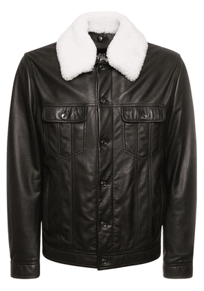 Leather Jacket W/ Shearling Collar