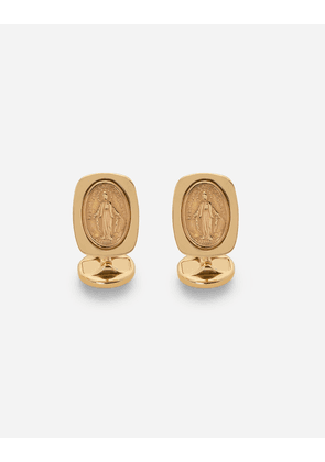 Dolce & Gabbana Jewelry - Devotion yellow gold cufflinks with a red gold Virgin Mary medallion YELLOW/RED male OneSize
