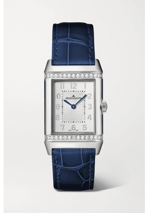 Jaeger-LeCoultre - Reverso Classic Duetto Automatic 24mm Medium Stainless Steel, Alligator And Diamond Watch - Silver