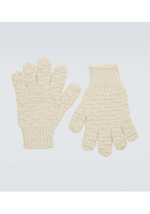 Jacquard hand-knitted wool gloves