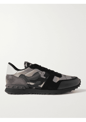 VALENTINO - Valentino Garavani Rockrunner Camouflage-Print Canvas, Leather and Suede Sneakers - Men - Gray - 43