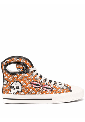 Burberry porthole-detail monogram character-print sneakers - Neutrals