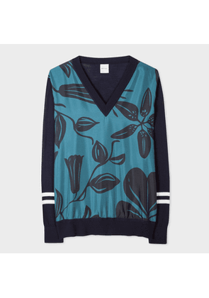 Women's Navy Wool Sweater With 'Floral Cutout' Silk Front