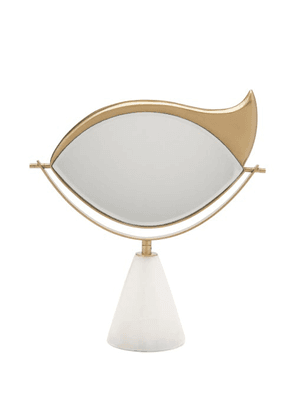 L'objet - X Lito 24kt Gold-plated & Marble Vanity Mirror - Gold Multi