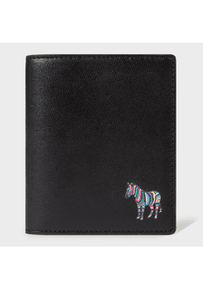 Men's Black 'Zebra' Leather Credit Card Wallet with Green Trims