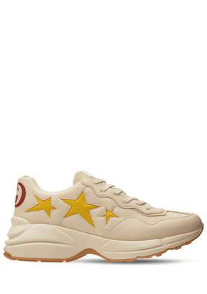 Rhyton Stars Print Faux Leather Sneakers