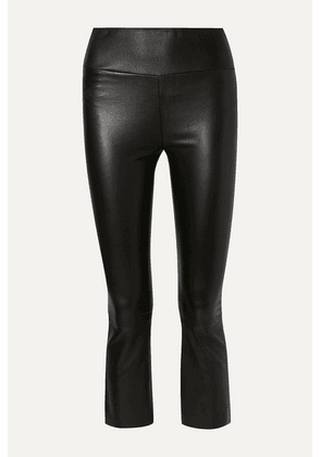 SPRWMN - Cropped Leather Flared Pants - Black