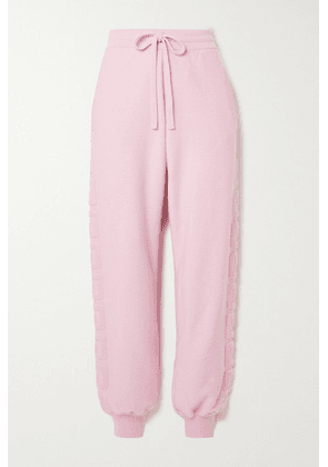 Versace - Appliquéd Wool And Cashmere-blend Terry Track Pants - Pink