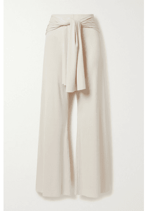 aaizél - + Net Sustain Tie-front Ribbed-knit Flared Pants - Cream