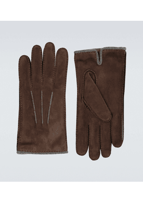 Suede and baby cashmere gloves