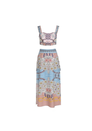 Comino Couture London Blush Pink Floral Mini Two -piece Set