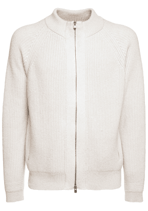 Cashmere Knit Cardigan W/leather Detail