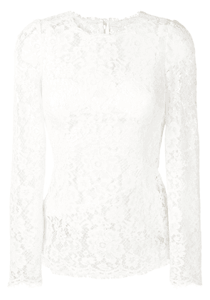 Dolce & Gabbana floral lace top - White