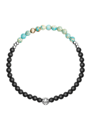 Black Matte Onyx and Turquoise Wristband