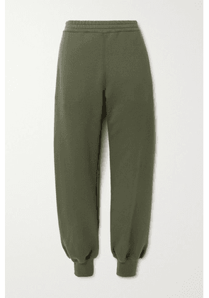 Alexander McQueen - Printed Cotton-jersey Track Pants - Army green