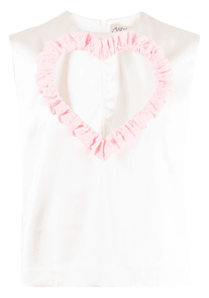 Ashley Williams Love Me cut-out heart top - White
